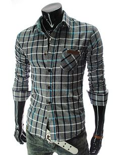 Slim fit Men's casual Leather Patched Pocket Long Sleeve Checker Shirt.