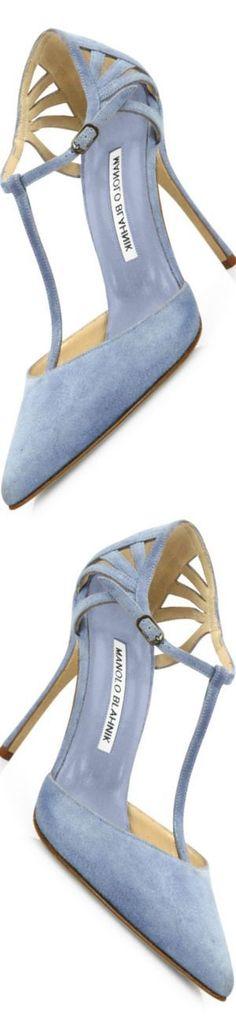 #Shoes  Trendy High Heels For Ladies : Manolo Blahnik Getta Suede T-Strap Pumps Light Blue #manoloblahnikheelsladiesshoes