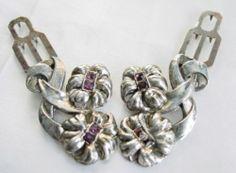 Vintage Art Deco Purple Rhinestone Floral Ribbon Dress Clip Pair Signed | eBay