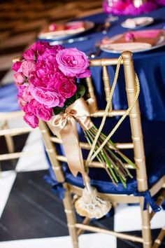 Pink floral chair decor