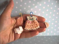 Handmade tiny knitted outfit for miniature OOAK baby doll by mam-m-mi - YouTube