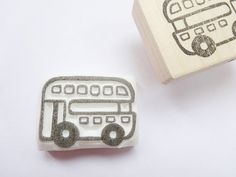 London bus stamp Double Decker Cute bus by JapaneseRubberStamps, £7.00