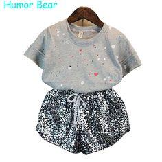 Humor Urso roupas meninas 2016 das Crianças meninas Roupas de Bebê Menina pontos T-shirt + effulge Leopardo terno de calças vestuário set