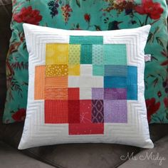Patchwork pillow cover using transparency technique.