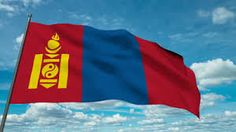 This is Mongolia's flag. The color Blue on the flag means skies, Red means progress and prosperity, and Yellow is their national symbol.