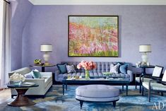 A Colorful Upper West Side Apartment by Jamie Drake  The decorator orchestrates a dynamic makeover of a prime 19th-century Manhattan apartment, bringing a palette of soft purples to the fore