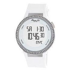 Reloj digital y tactil de kennet cole con correa de caucho blanco/Reloj Kenneth cole www.relojesplatayacero.com