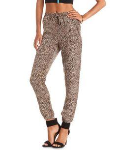 Zipper Pocket Leopard Print Jogger Pants: Charlotte Russe