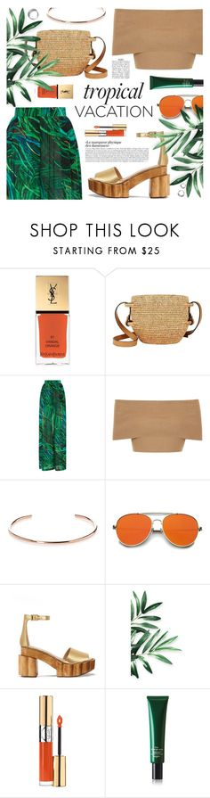"""Tropical Vacation: Welcome To The Jungle"" by the-amj ❤ liked on Polyvore featuring Yves Saint Laurent, Khokho, Elie Saab, Blue Vanilla, A.V. Max, Tory Burch and Hermès"