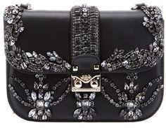 VALENTINO  Crystal Embellished Shoulder Bag