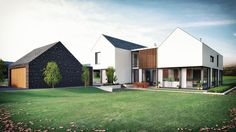 Two linear blocks sit parallel to each other with a glazed link. Composed to take advantage of the clear panoramic view of the Sperrin Mountains to the rear this large family home. Contemporary House Plans, Contemporary Barn, Modern Barn, House Designs Ireland, Rural House, Ireland Homes, Modern Farmhouse Exterior, Custom Built Homes, Architect House