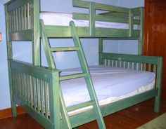 Bunk & Loft Factory - Twin-Full Bunk Beds - Mission Style - Aqua Stain - B25. White stain and queen over queen