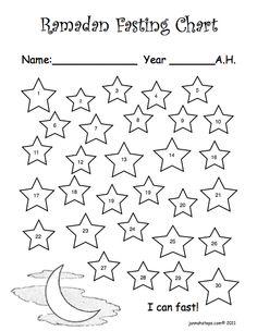 2 olika sätt att hålla reda på vilken dag i Ramadan det är. Barnet färglägger en stjärna för varje dag och ser hur man kommer närmare till Eid.