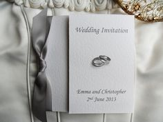 Square Gatefold Wedding Invitations with Silver Rings Shop online at www.daisychaininvites.co.uk
