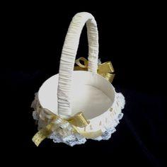 CE_72 Cesta Ivory Dorado #bodas para arras anillos o petalos.