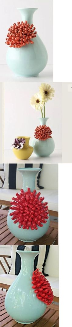 Vases 101415: New Anthropologie Mint Green Ceramic Curvy Chrysanthemum Vase  Seafoam 3D Flower  U003e