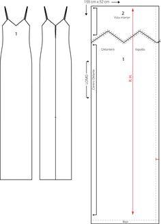 Patrón cero residuos del vestido largo.