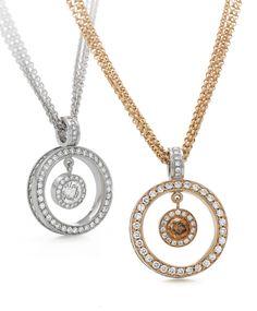 Rosendorff Essentials Collection Brilliant Diamond and Cognac Circle Of Love Pendants