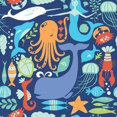Tela infantil 100% algodón orgánico de primera calidad de Monaluna (USA). Un mar profundo azul oscuro lleno de vida: pulpos, peces, sirenas, tortugas, langostas, delfines, ballenas y un sinfín de animales marinos. Ancho 110 cm. El patrón se repite cada 20 x20,5 cm. (an. x al.). La ballena mide 9,3 cm de alto. Es ligera, ideal para patchwork, confección, decoración y otros proyectos de costura.