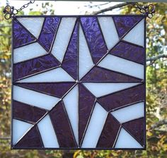 Quilt Block Stained Glass Suncatcher Panel 8 by HillLillyDesigns, $36.00