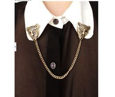 Retro Style Leopard Embellished Chain Collar Brooch Bronze