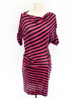 Anglomania Size M Striped Short Sleeve Dress- Vivienne Westwood tends to have interesting structural elements...
