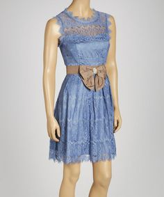 Blue Lace Sleeveless Dress #zulily #zulilyfinds