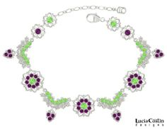 .925 Sterling Silver Charm Bracelet by Lucia Costin with Light Green and Violet Swarovski Crystals, Accented with Delicate Flowers and Leaf ...