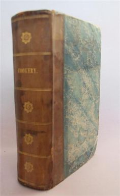 A New System of Domestic Cookery Formed Upon Principles of Economy: And Adapted to the Use of Private Families By A Lady (Mrs Rundell) Publisher: John Murray, 1829, new edition, corrected. Bound in half leather over marbled boards with titles and decorations in gilt on spine. Very good condition, tight in binding, marks to the title page and marks here and there throughout, but mainly clean. One page has a repaired closed tear. Lacks all plates except for frontispiece. A nice edition of…