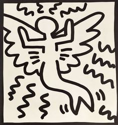 Available for sale from Lot Keith Haring, Keith Haring (untitled) angel lithograph 1982 Offset lithograph, 9 × 9 in Keith Haring Shirt, Keith Haring Poster, Keith Haring Prints, Wallpaper Wall, Haring Art, Pop Art Artists, Skateboard, Graffiti Wall Art, Principles Of Art