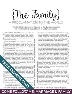 Genius image in the family a proclamation to the world printable