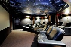 Home movie theater with custom ceiling. #DreamHome