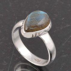 BLUE FIRE LABRADORITE 925 SOLID STERLING SILVER FASHION RING 3.52g DJR6376 #Handmade #Ring