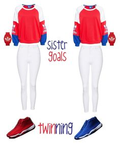 """""""Adidas twins"""" by diamonds101 ❤ liked on Polyvore featuring adidas, adidas Originals and Topshop"""