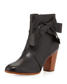 tracee+leather+bow+bootie,+black+by+kate+spade+new+york+at+Neiman+Marcus.