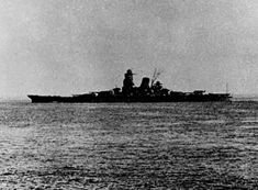 18 in super-battleship Musashi leaving on her final voyage, October 1944. She was sunk by sustained air attack at the Battle of Leyte Gulf. She and sister Yamato were the biggest battleships ever built, at well over 70000 tons. Musashi was a few tons heavier.