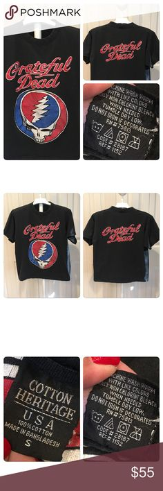 Vintage Grateful Dead double-sided Tee Vintage Grateful Dead double-sided Tee. Printed on a Cotton Heritage black Cotton tee. Bright double-sided graphics. No holes stains rips or tears. Some slight fading and cracking of graphics gives it, it's awesome vintage appeal Vintage Tops