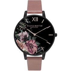 Olivia Burton After Dark Black Dial Rose & Rose Gold (185 CAD) ❤ liked on Polyvore featuring jewelry, watches, dark jewelry, gold wristwatches, black dial watches, gold wrist watch and floral jewelry