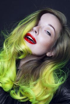 Neon Yellow ombre by Cameron Lesiege for Paul Mitchell Pravana neons