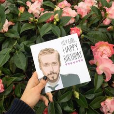Hey Girl, Happy Birthday. Cute Ryan Gosling Birthday card sold in Urban Outfitters.