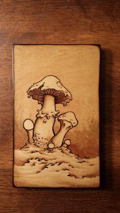 """5x8"""" Psychedelic Mushroom Woodburning"""
