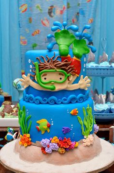 Sea Biscuit Theme Fake Cake Background with Boy Diver. Bolos Pool Party, Pool Party Cakes, Pool Cake, Pool Birthday Cakes, Boy Pool Parties, Swimming Cake, Cake Background, Ocean Cakes, Little Mermaid Cakes
