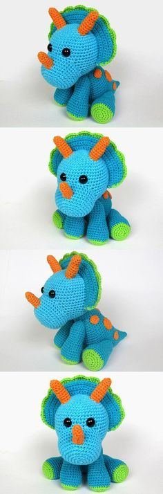Triceratops Tripi Amigurumi Pattern More - The Crocheting Place Crochet Diy, Crochet Amigurumi, Amigurumi Patterns, Crochet Crafts, Crochet Dolls, Yarn Crafts, Crochet Patterns, Yarn Projects, Knitting Projects