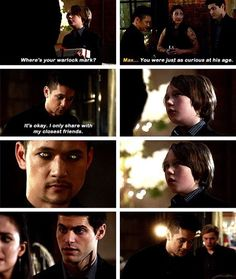 I agree with max's reaction. If I wasn't expecting that, I would have jumped a bit too. <------- Alec looks so betrayed Immortal Instruments, Mortal Instruments Books, Shadowhunters The Mortal Instruments, Matthew Daddario, Cassandra Clare, City Of Ashes, Simon Lewis, Shadowhunters Tv Show, Alec Lightwood