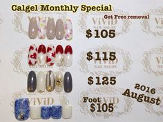 august 2016  $105 soft touch painted flower art for early spring $115 very cute love heart nail art in red and white $125 stripe with the unique design nails Foot$105 cool jeans textured foot art even in winter! (With mini pedicure ex$15,With full pedicure ex$35) Calgel monthly special*Free Removal of Calgel By choosing one of the design below and get free removal($30) The colour could be changed with your preference!  $105 優しいお花と大人な色で春を先取り✨ $115 赤いハートのネイルで大人かわいい指先に♡ $125…