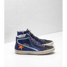 2017 GGDB Slide Sneakers In Suede Con Leather Star Blu Nero Arancia