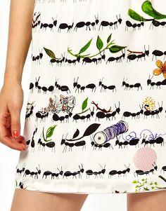 Peter Jensen | Peter Jensen Mini Slip Skirt In Ant Print at ASOS