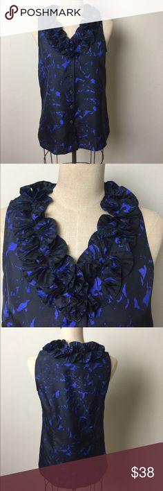 J. crew silk ruffle neckline top Gorgeous blue/black print! Beautiful ruffle neck line! 100% silk button front J. Crew Factory Tops