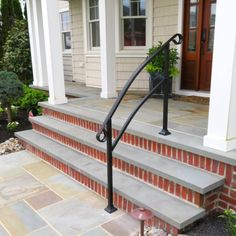 Front Stairs Railing Ideas porch hand rails designs kits Source: website azek front porch vinyl railings columns st Source: website s. Porch Railing Kits, Porch Railing Designs, Porch Handrails, Exterior Stair Railing, Outdoor Stair Railing, Front Porch Railings, Front Stairs, Railing Ideas, Pergola Ideas