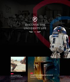 If Jedis & Siths could be able to study in a University.what would happen? Brand, Web & Virtual Campus concept created by 3 Star Wars lovers. This is just a concept project. All images used in the presentation belong lo their owner… Starwars, The Dark Side, Becoming A Pilot, University Life, Behance, User Interface Design, Creative Industries, Web Design Inspiration, Interactive Design